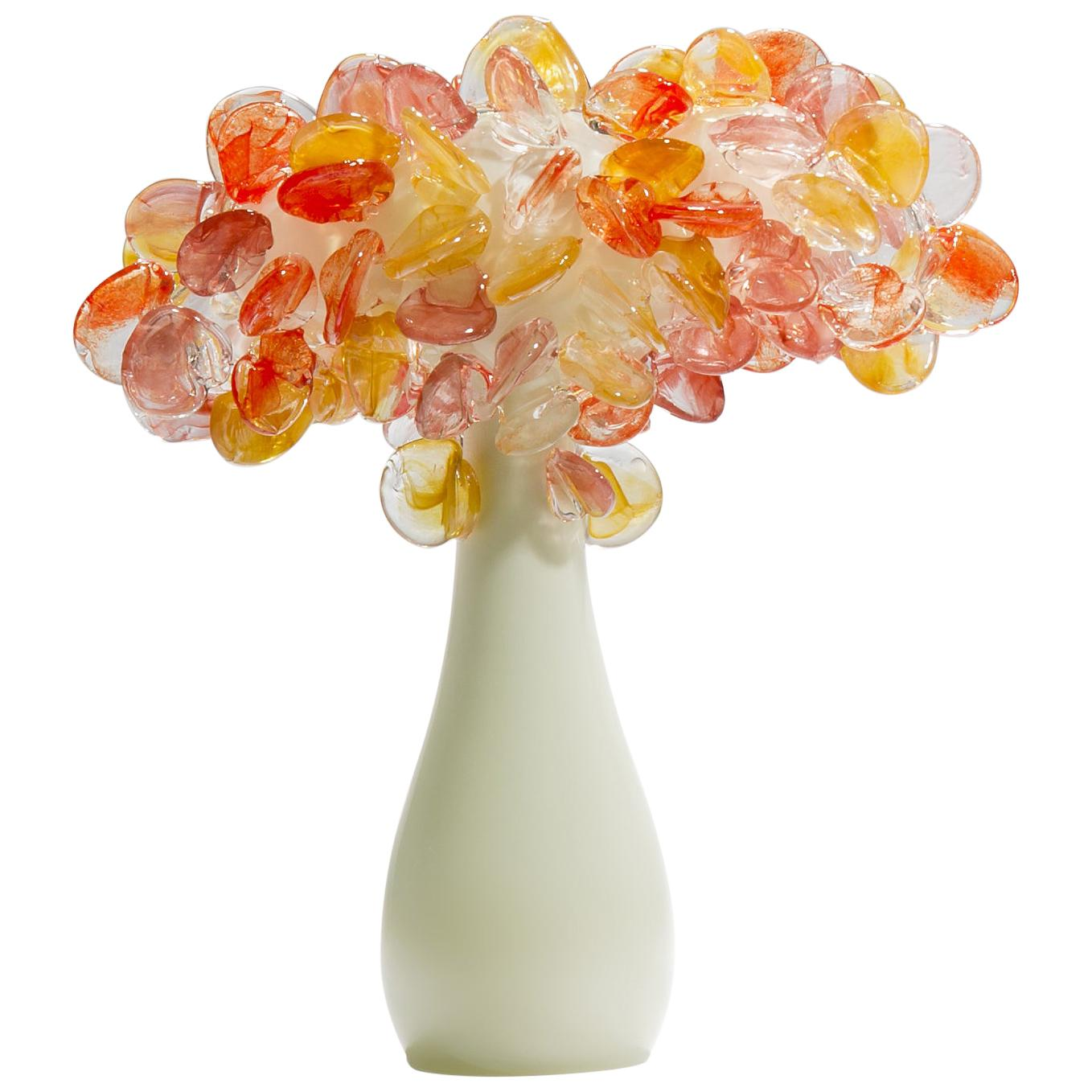 Enchanted Dusk in Short Coral, a unique glass tree sculpture by Louis Thompson