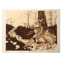 """""""Enchanted Path"""" Archival Rabbit Pen and Ink Print by Louis Shields"""