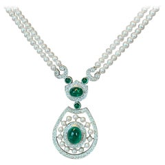 18 Karat Whitle Gold Pearl Emerald and Diamond Necklace