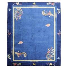 Enchanting Blue Antique Chinese Art Deco Room Size Carpet