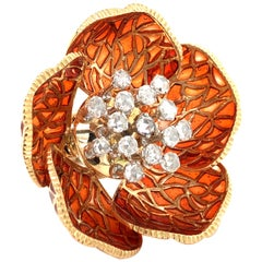 Enchanting Enamel and Diamond Flower Ring in 18 Karat Yellow Gold