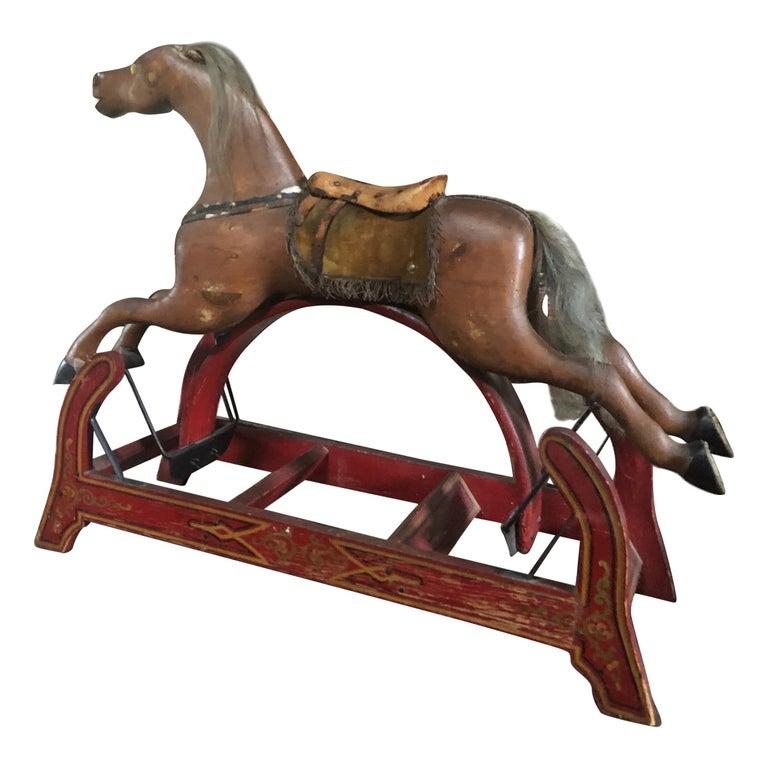 Enchanting Folk Art 19th Century Children's Hobby Horse Toy Sculpture For Sale