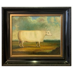 Enchanting Folk Art Painting of Fat Heifer Cow