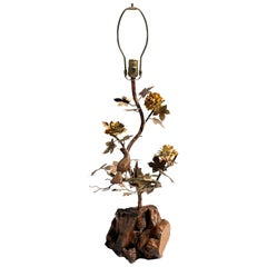 """Enchanting Forest"" Brass and Burl Wood Lamp"