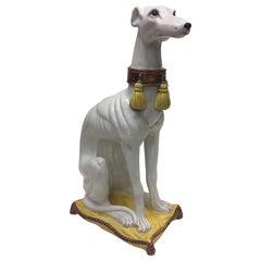 Enchanting Glazed Terracotta Greyhound Sculpture