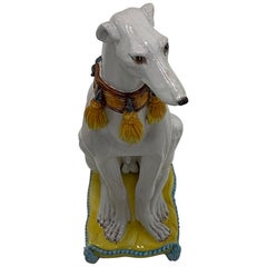 Enchanting Glazed Terracotta Greyhound Sculpture