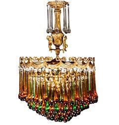 Enchanting Italian Brass and Multicolored Teardrop Chandelier, 1930s