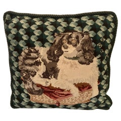 Enchanting Needlepoint Pillow Decorated with a Cavalier King Charles Spaniel