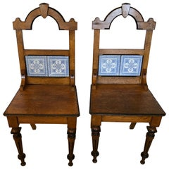 Enchanting Rare Pair of French Oak and Tile Arts & Crafts Side Chairs