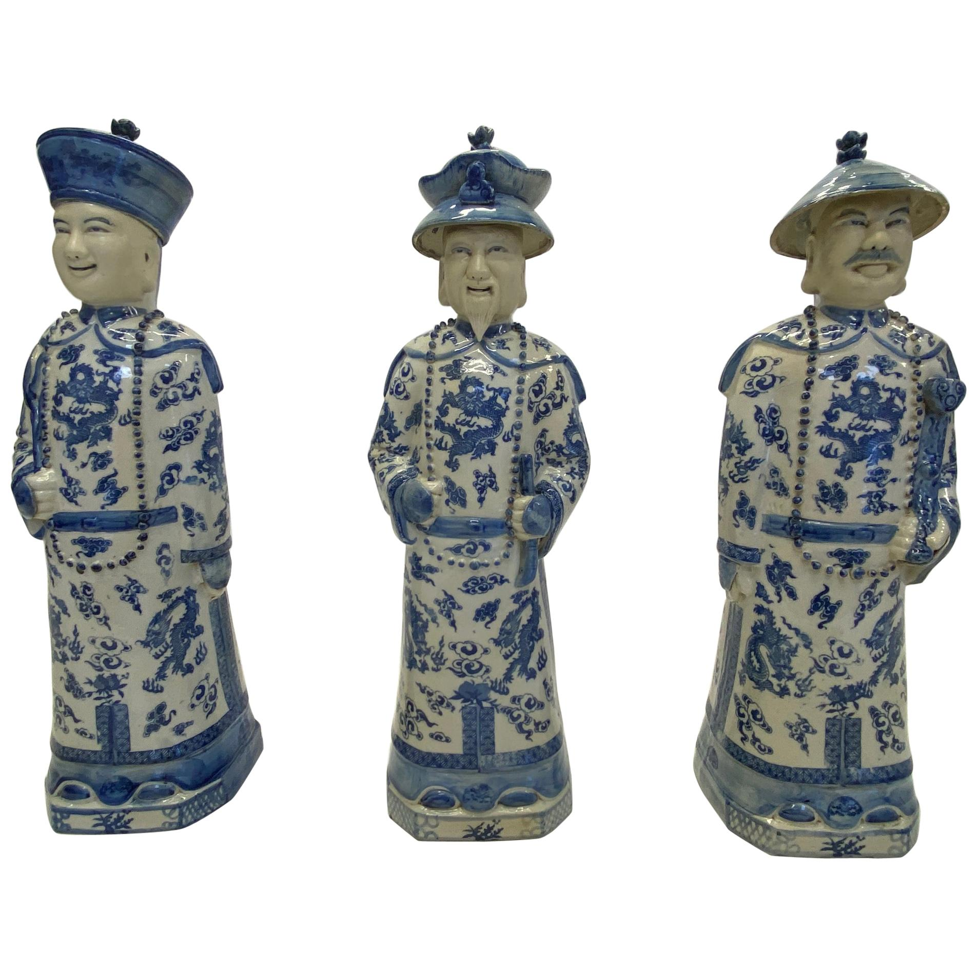 Enchanting Trio of Blue and White Chinese Porcelain Scholarly Figures