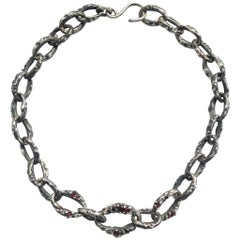 Encrusted Garnet Chain Necklace in Sterling Silver
