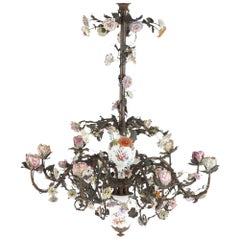 Encrusted Porcelain Floral Chandelier in the Style of Meissen