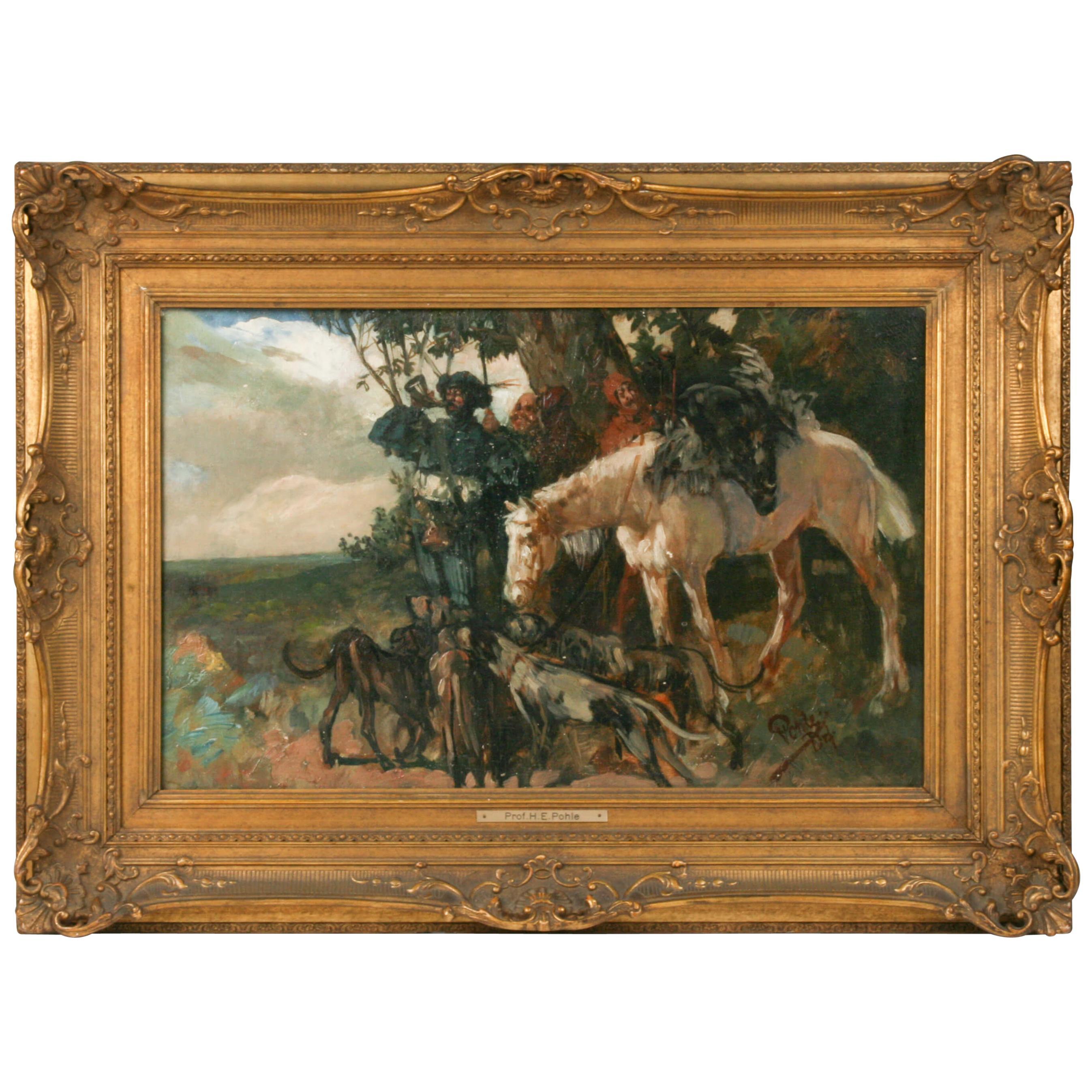 End 19th Century Oil Painting Hunting Scene Herman Emil Pohle