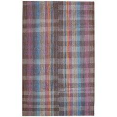 End-20th Century Handwoven Anatolian Wool Cotton Dark Multi-Color Striped Kilim