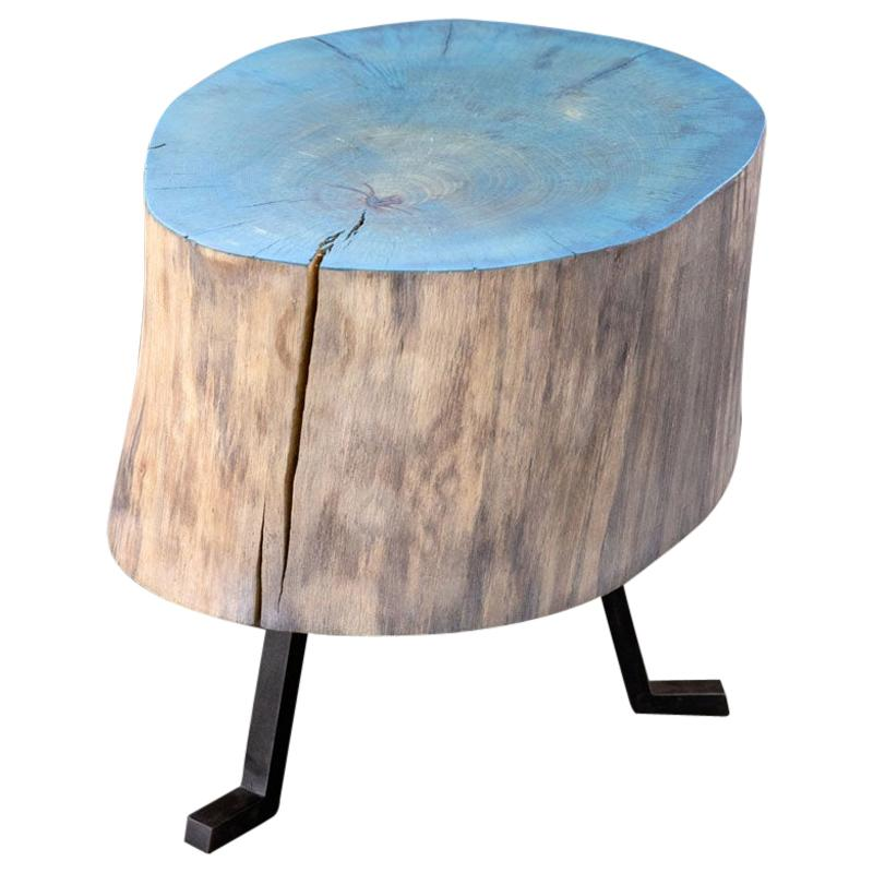 Live Edge Round Side Table Blue and Light Wood with Black Patina Steel Legs #5