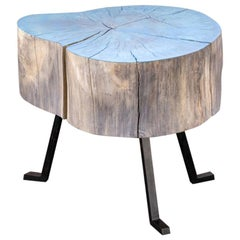 End Grain Round Side Table Blue and Light Wood with Black Patina Steel Legs #6