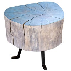 Live Edge Round Side Table Blue and Light Wood with Black Patina Steel Legs #7