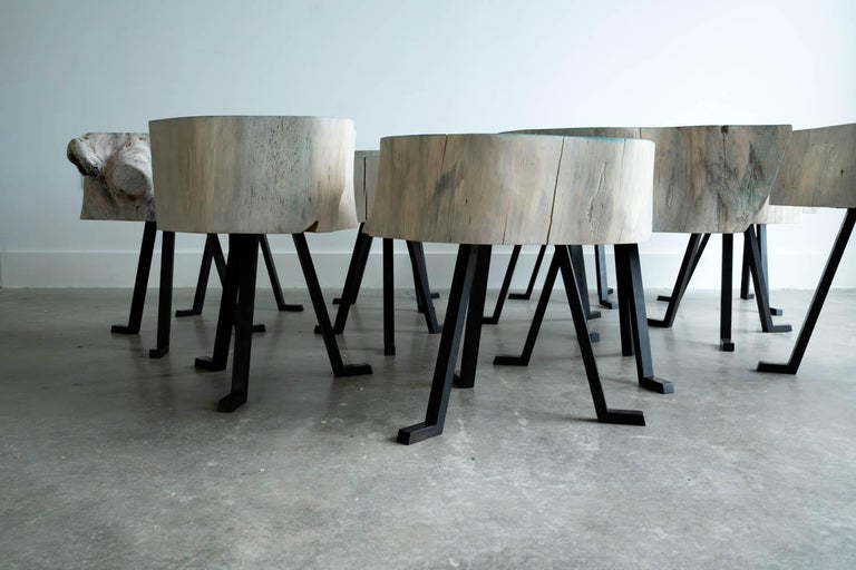 Blackened Live Edge Round Side Table Blue and Light Wood with Black Patina Steel Legs #8 For Sale