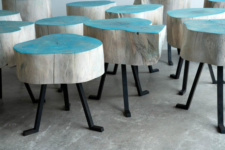 Live Edge Round Side Table Blue and Light Wood with Black Patina Steel Legs #8 In New Condition For Sale In Birmingham, AL