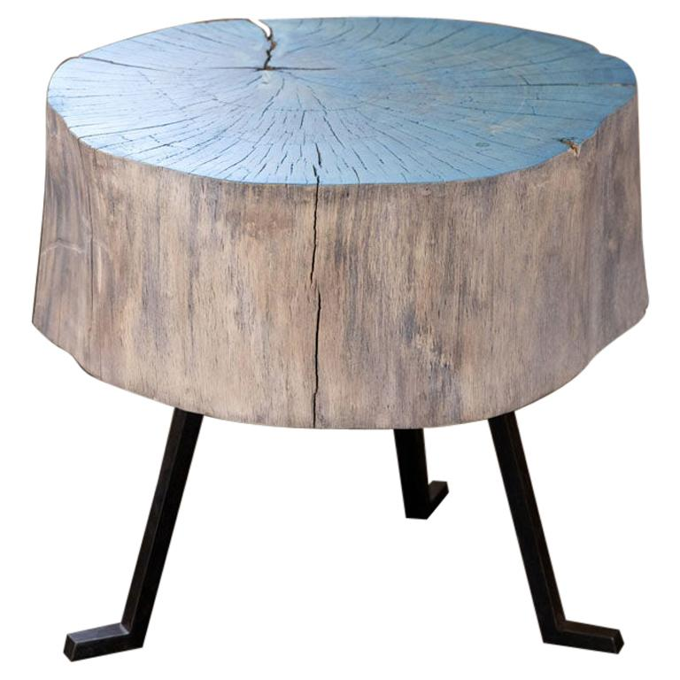 Live Edge Round Side Table Blue and Light Wood with Black Patina Steel Legs #8 For Sale