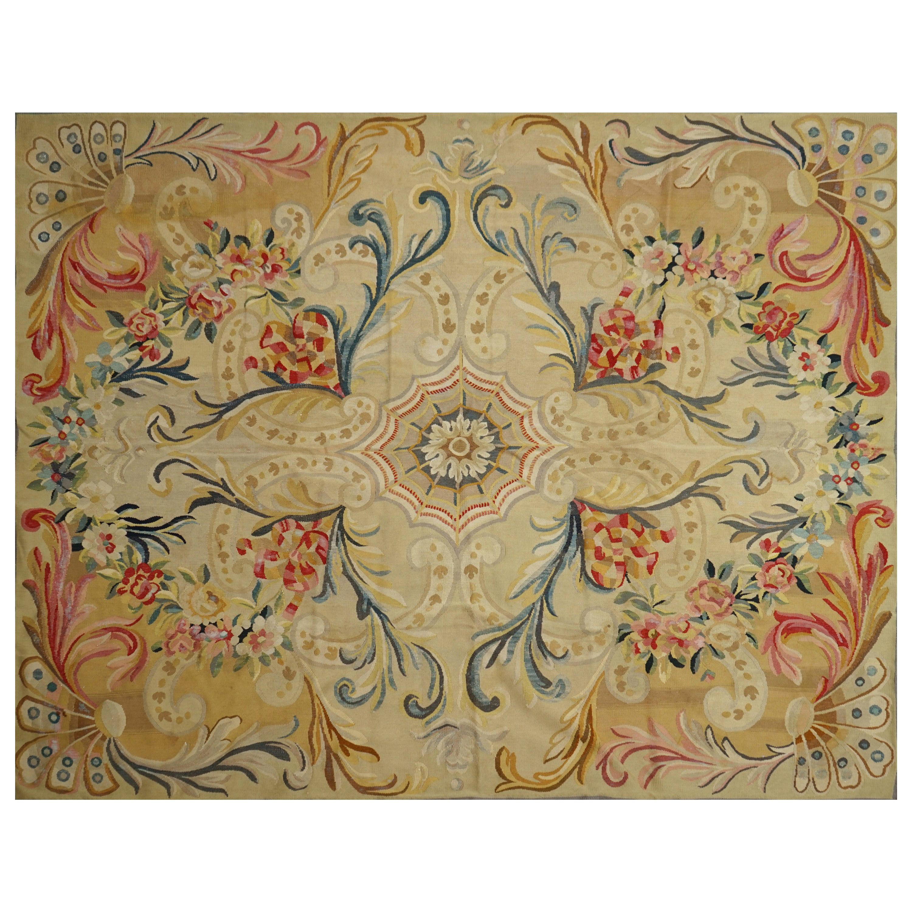 End of 19th Century Handwoven Antique Aubusson Rug