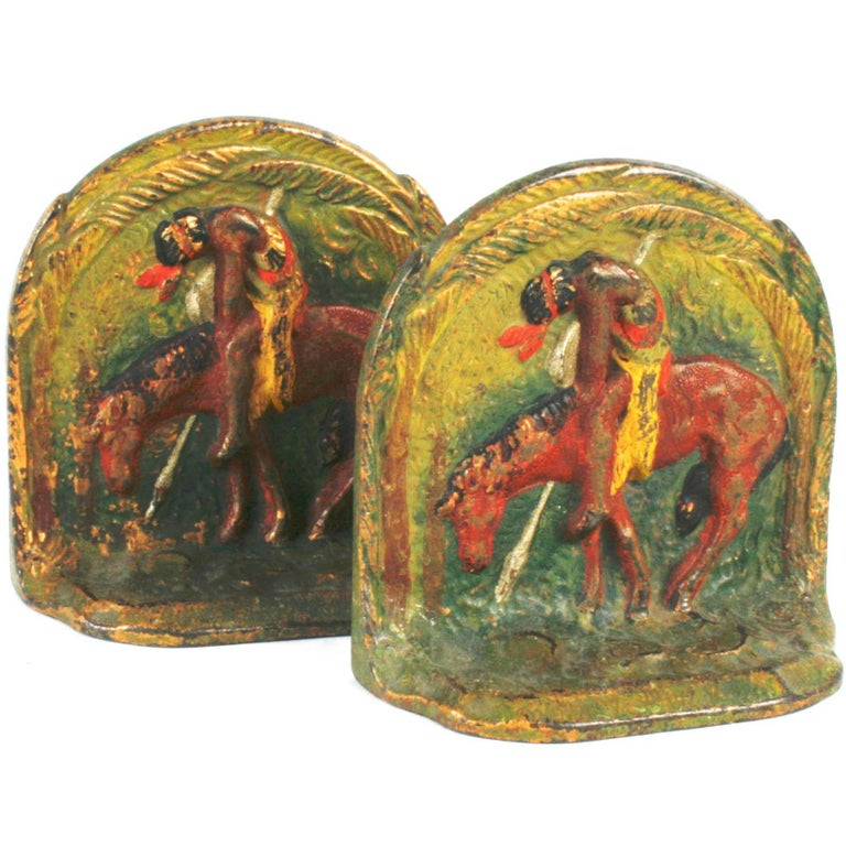 """""""End of Trail,"""" Cast Iron Bookends For Sale"""