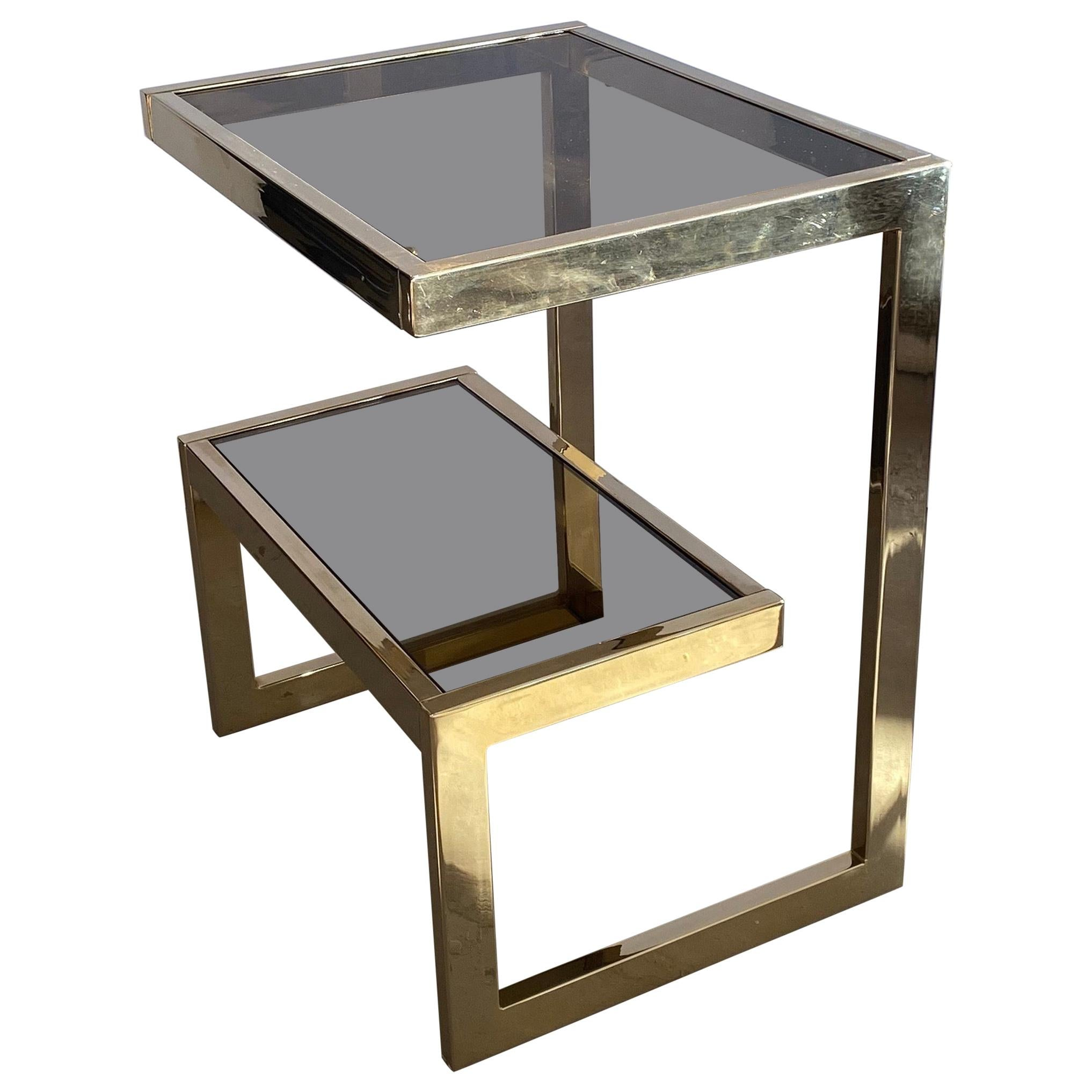 End, Side or Coffee G Table 23-Carat Gold-Plated by Belgo Chrome