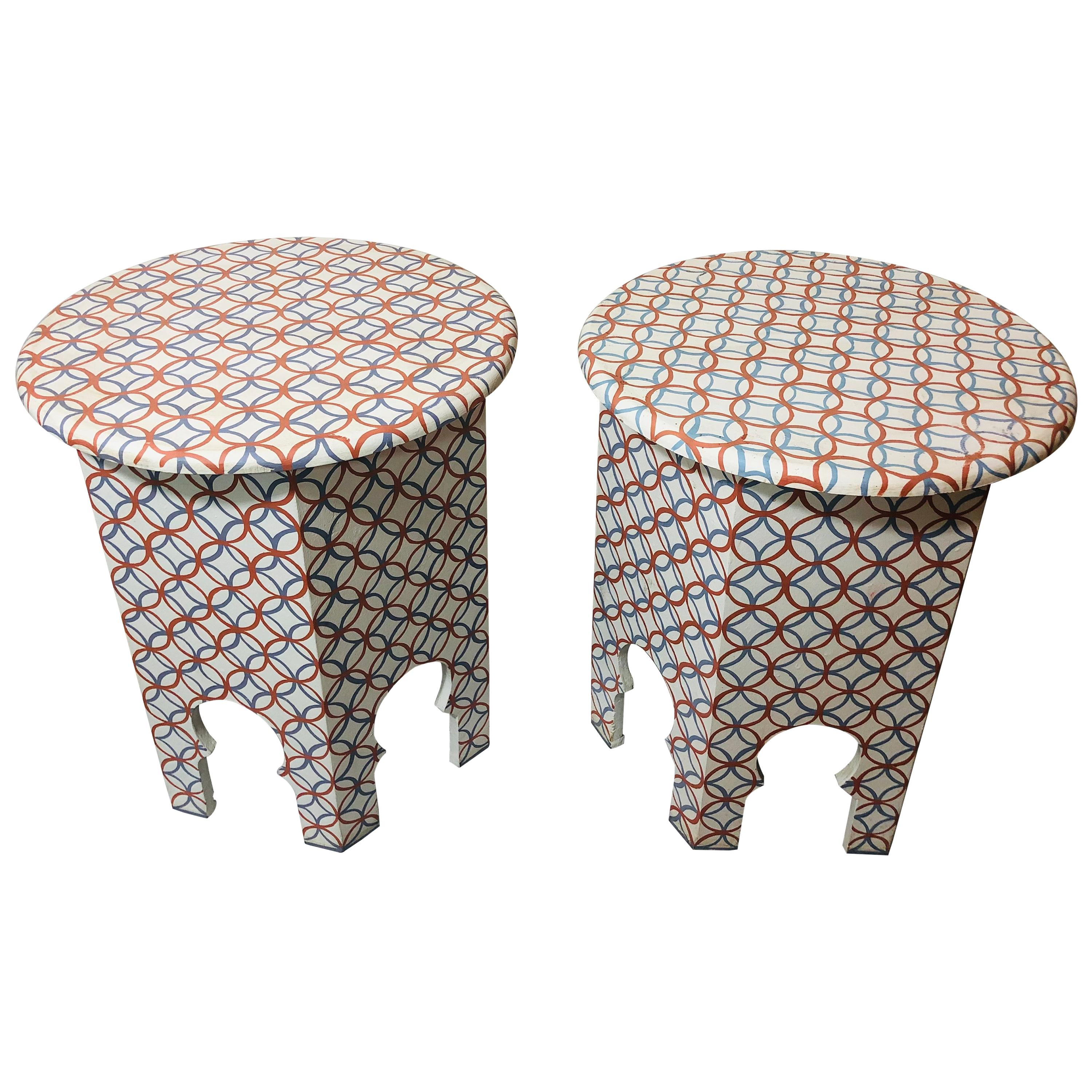 End, Side or Lamp Table Modern Moroccan White, a Pair