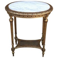 End Table, 19th Century French Gilded Louis XVI Marble Top Oval