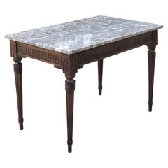 End Table, 19th Century French Neoclassical with Marble Top, circa 1840