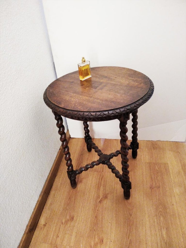 Large End Table Barley Twist Legs, Spain, 19th Century For Sale 8
