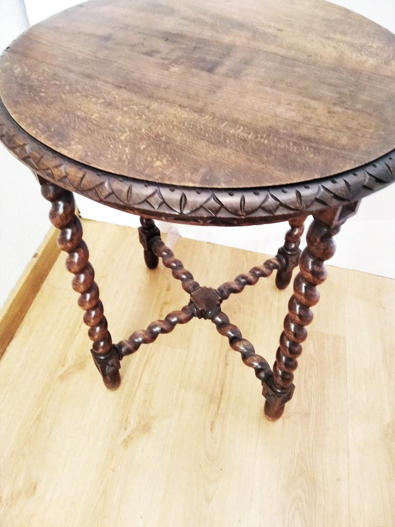 Large End Table Barley Twist Legs, Spain, 19th Century For Sale 9