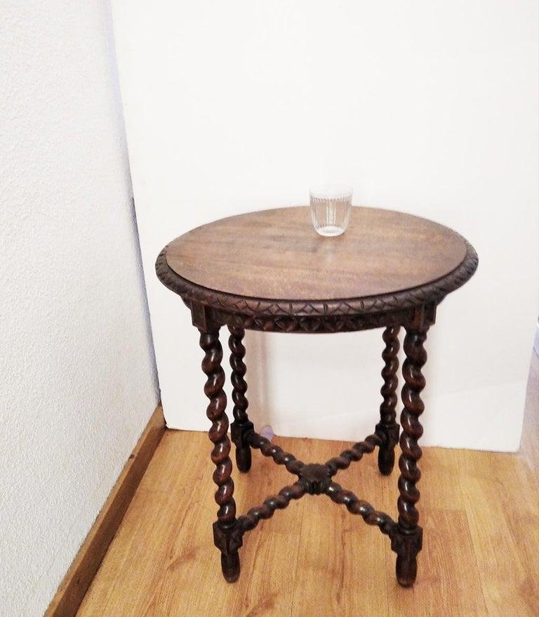 Renaissance Revival Large End Table Barley Twist Legs, Spain, 19th Century For Sale