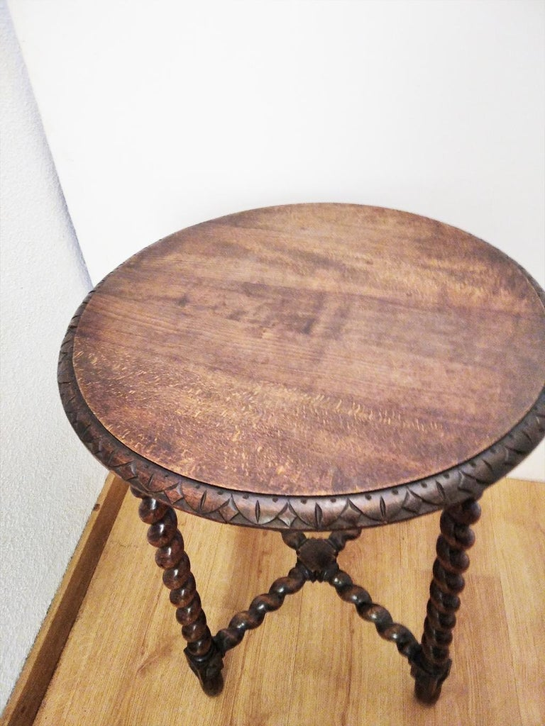 Spanish Large End Table Barley Twist Legs, Spain, 19th Century For Sale