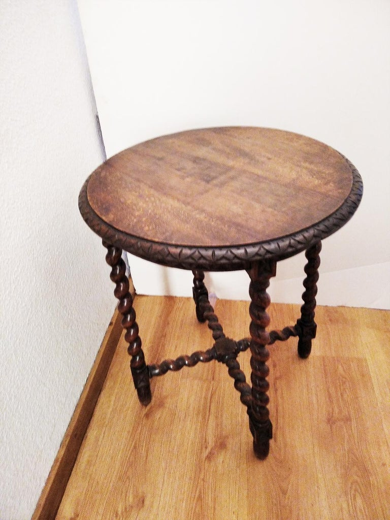 Wood Large End Table Barley Twist Legs, Spain, 19th Century For Sale