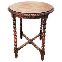 Large End Table Barley Twist Legs, Spain, 19th Century