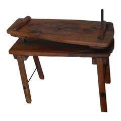 End Table from Wooden Cheese Press, 19th Century French Country
