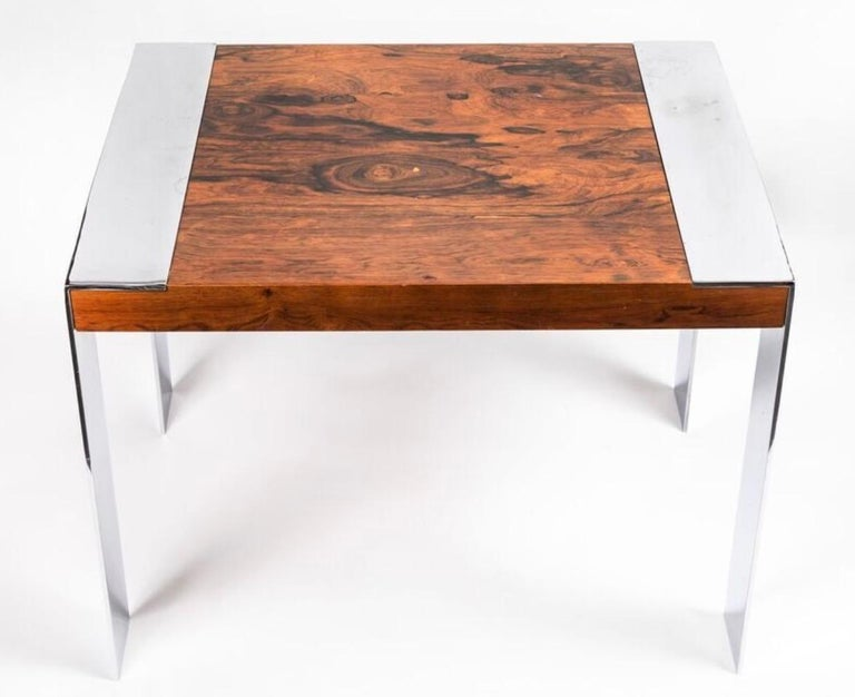 Vintage square end table in the style of Milo Baughman, rosewood top with chrome slim legs. Fully restored.