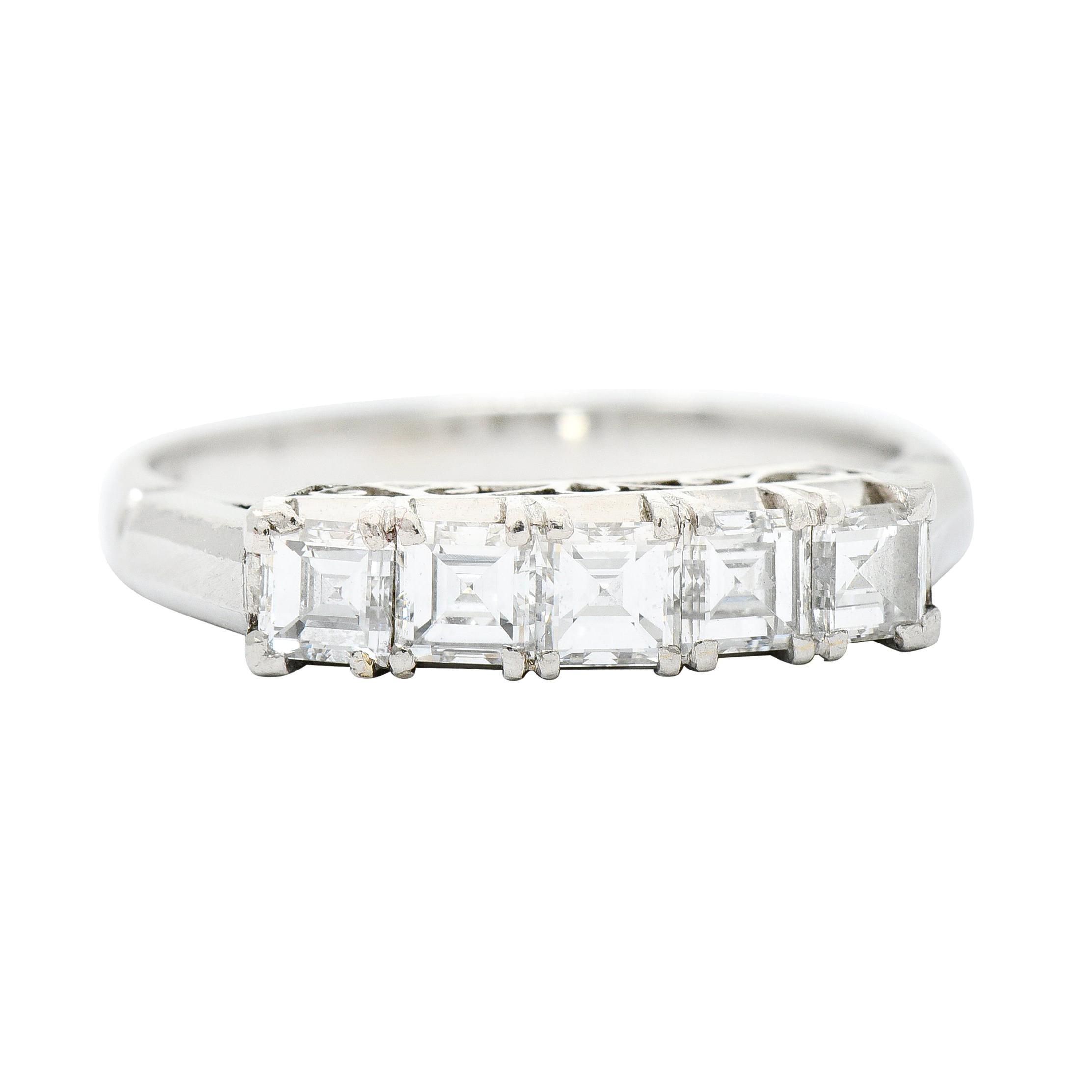 Endearing 0.78 Carat Diamond Platinum Five Stone Band Ring