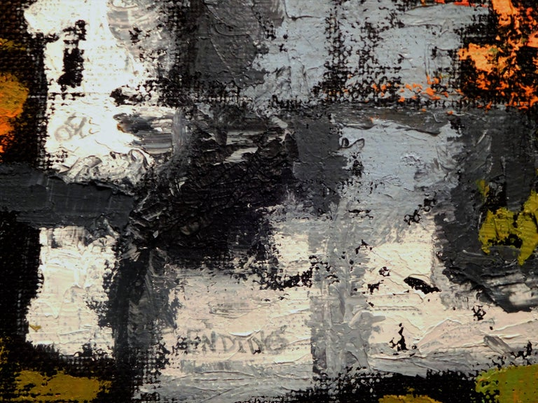 Endings, Expressionist Oil Paint on Found Frame and Burlap Mat by Godoy, 2012 For Sale 5