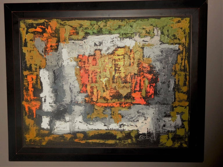 Endings, Expressionist Oil Paint on Found Frame and Burlap Mat by Godoy, 2012 For Sale 7