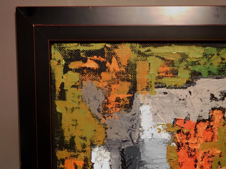 Canadian Endings, Expressionist Oil Paint on Found Frame and Burlap Mat by Godoy, 2012 For Sale
