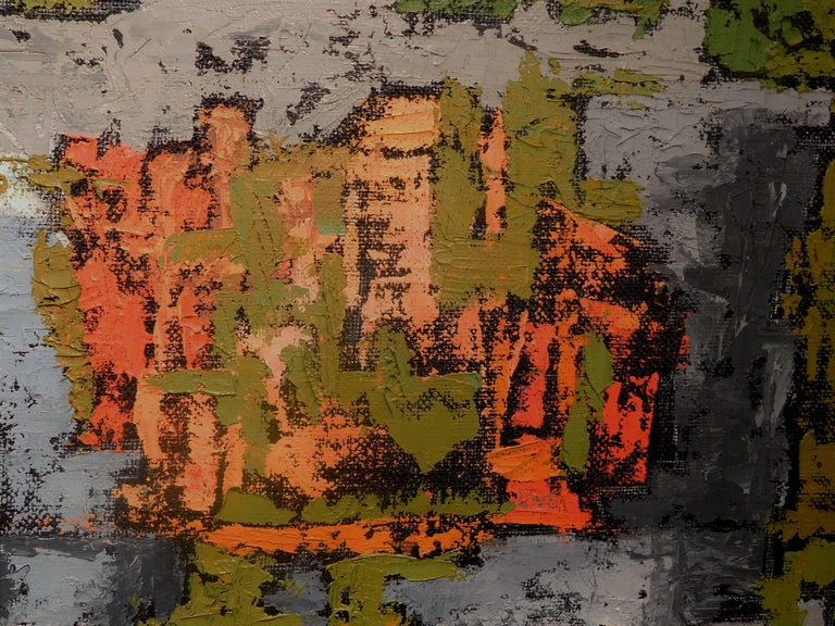 Painted Endings, Expressionist Oil Paint on Found Frame and Burlap Mat by Godoy, 2012 For Sale