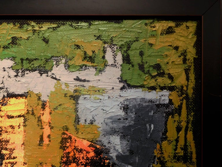 Endings, Expressionist Oil Paint on Found Frame and Burlap Mat by Godoy, 2012 In Good Condition For Sale In Quechee, VT