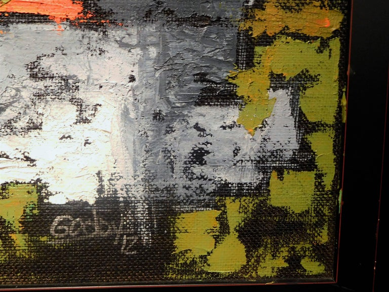Contemporary Endings, Expressionist Oil Paint on Found Frame and Burlap Mat by Godoy, 2012 For Sale