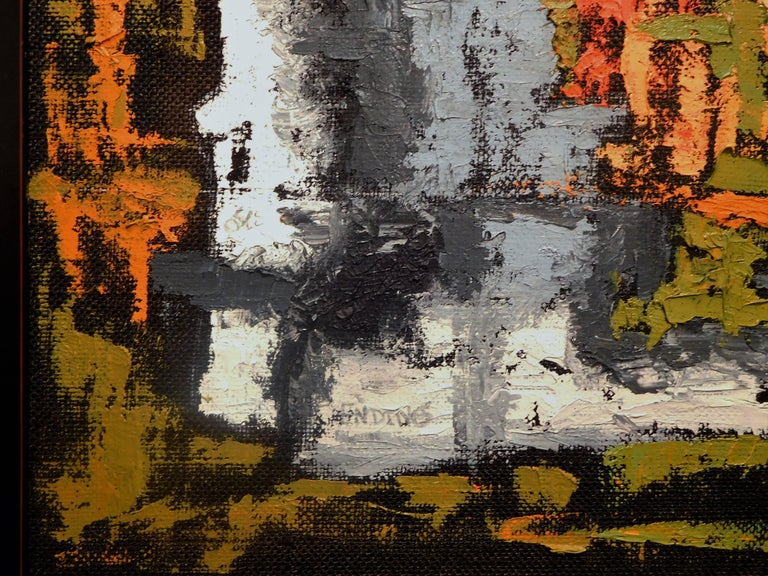 Endings, Expressionist Oil Paint on Found Frame and Burlap Mat by Godoy, 2012 For Sale 1