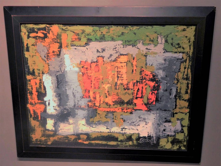 Endings, Expressionist Oil Paint on Found Frame and Burlap Mat by Godoy, 2012 For Sale 3