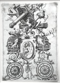 Ornamental Panel With A Rampant Lion In An Oval Cartouche