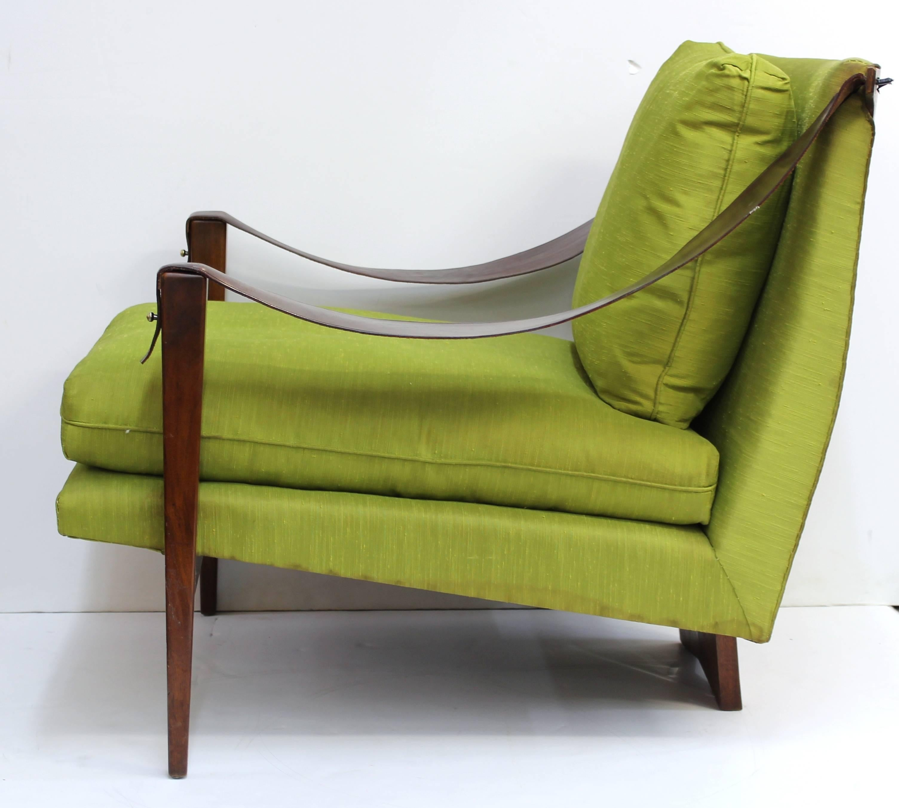Enfield Chairs With Leather Swing Arms And Chartreuse Green Upholstery In  Good Condition For Sale In