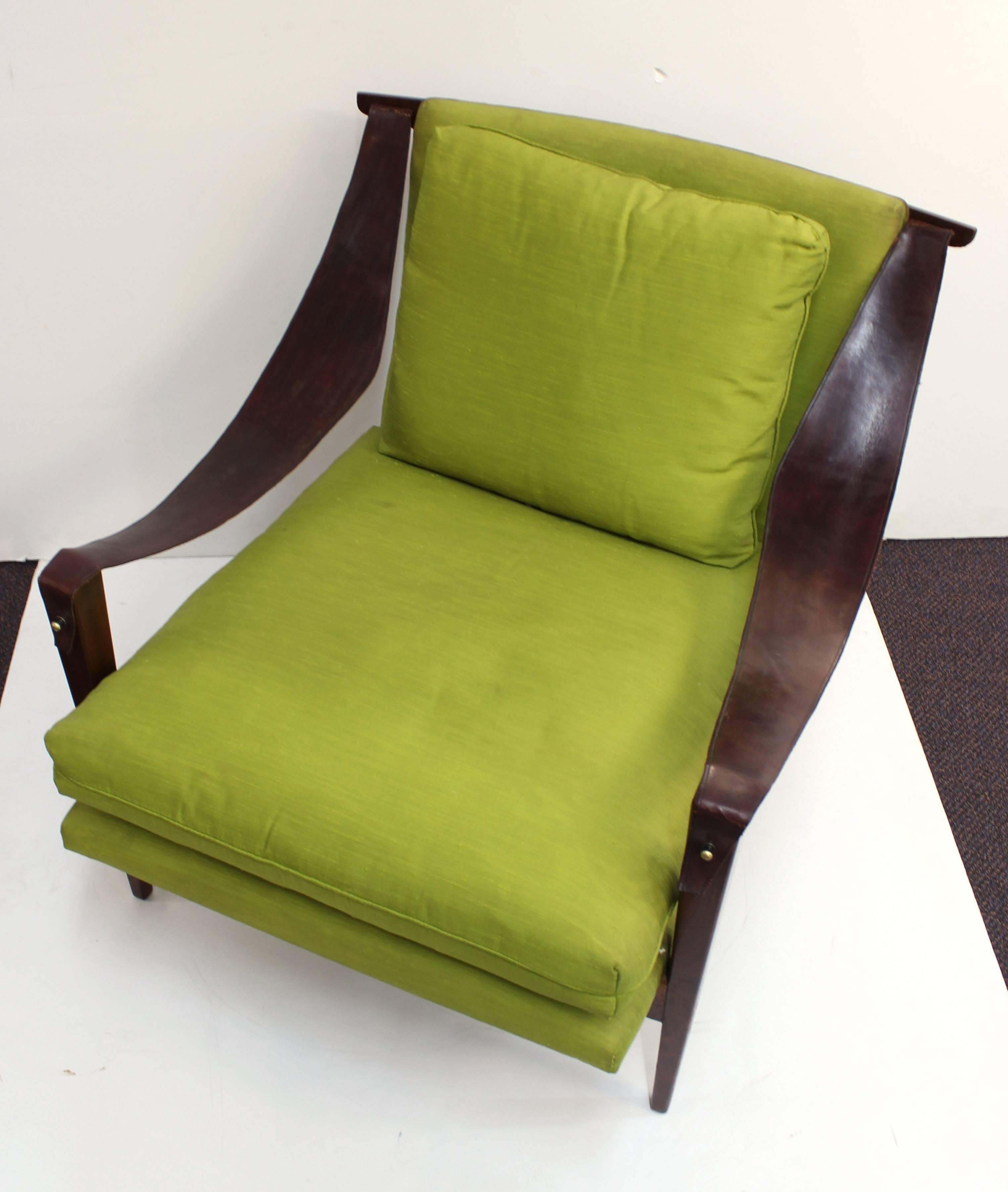 Enfield Chairs With Leather Swing Arms And Chartreuse Green Upholstery For  Sale 3